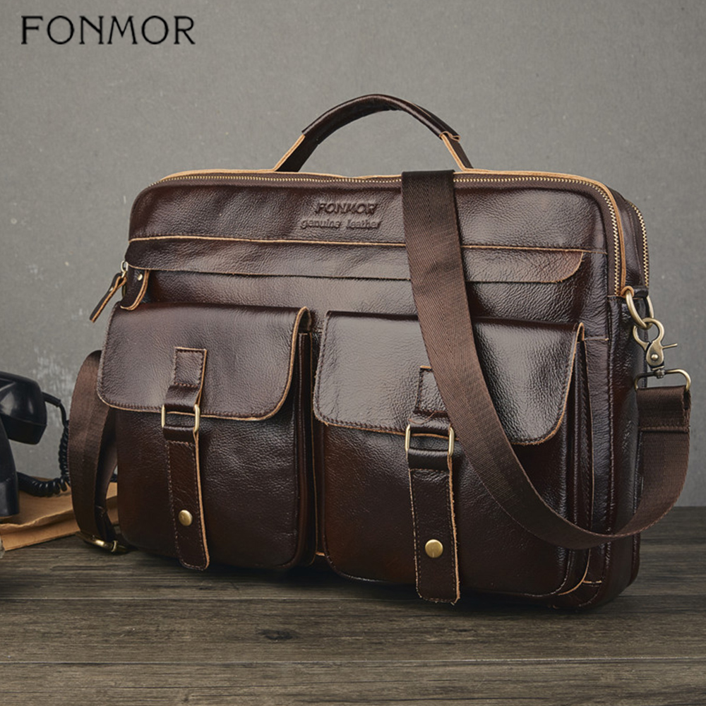 Fonmor Men Genuine Leather Briefcase Brown Laptop Messenger Bag Male Cowhide Business Crossbody Shoulder Bags Tote Handbag HOT