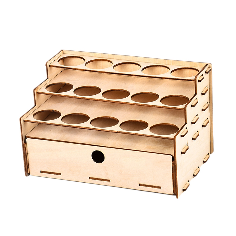 15 Hole DIY Model Tool Storage RaCk Wooden PiGMent Bottles Storage with Drawer|Outdoor Tools| |  - title=