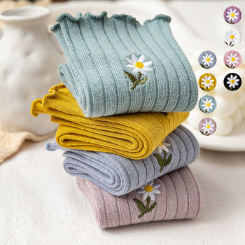 Streetwear Little Daisy Embroider Cute Socks Spring Summer Pure Cotton Frilly Women Japanese Korean Harajuku Kawaii Sock