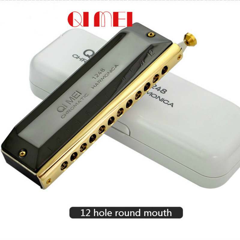 Harmonica 12-Hole arm/ónica crom/ática de 48 Tonos Instrumento de Viento de arm/ónica Profesional
