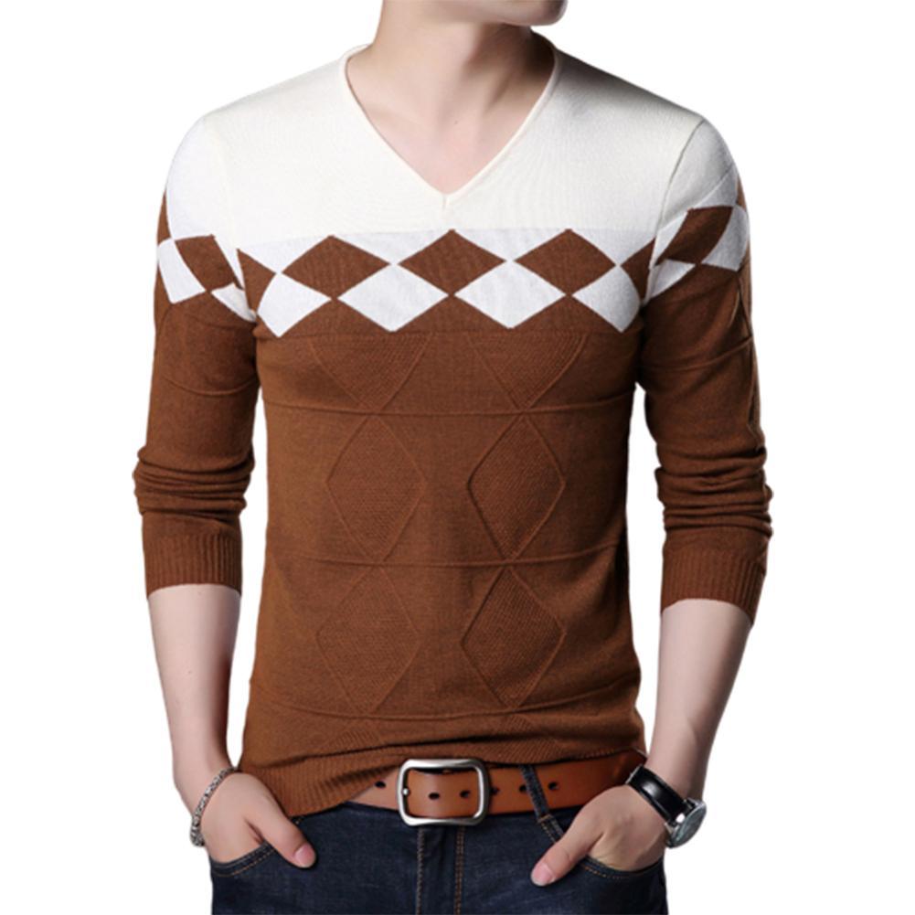 2019 Chic Men V Neck Long Sleeve Color Block Pullover Knitwear Elastic Slim Sweater Winter Men'S Sweater Men'S Knitted Pullovers