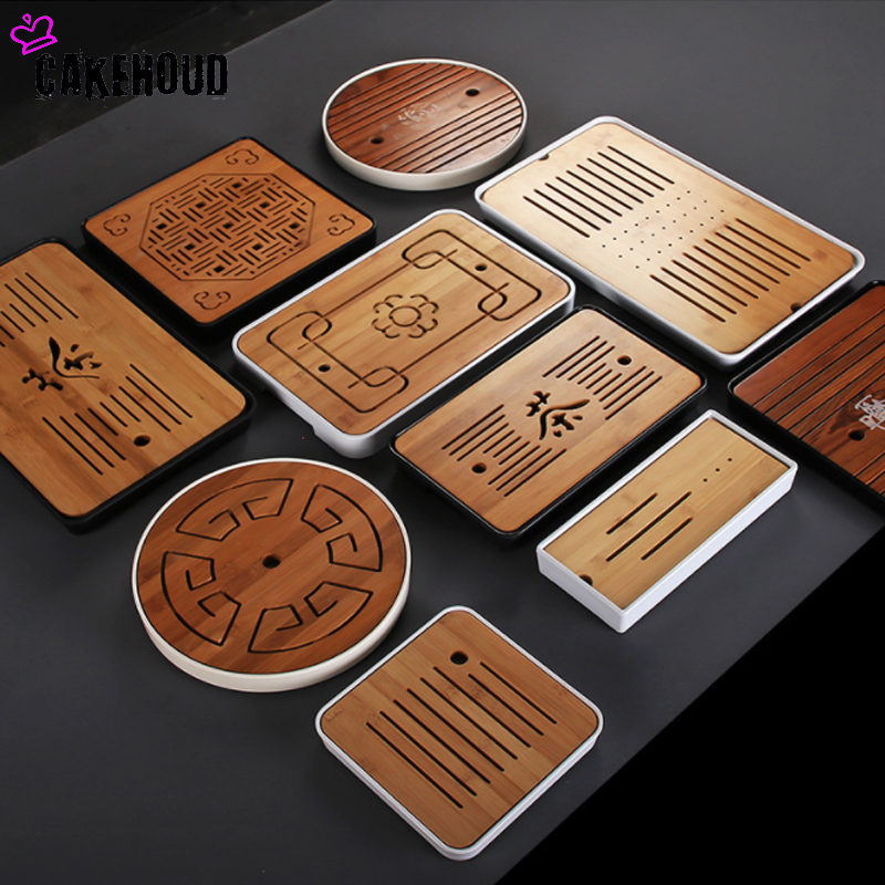 Chinese Simple Dry Bamboo Tea Tray Melamine Small Tea Table Kung Fu Travel Tea Set Household Drainage Water Storage Tea Tray