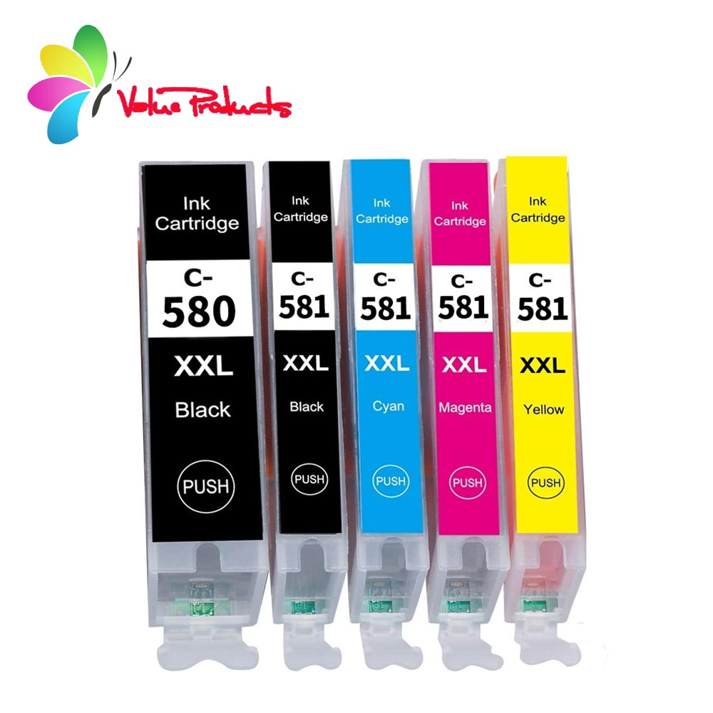 580XXL 581XXL Ink Cartridge Replacement For Canon PGI-580XXL CLI-581XXL PGI 580 XXL CLI 581 XXL 5-PACK PGBK/BK/C/M/Y