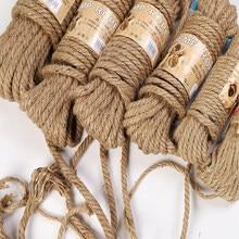 10M corda di iuta naturale corda di spago canapa cavo ritorto corda di macramè mestiere fai da te decorazione fatta a mano Pet graffio 2mm-12mm