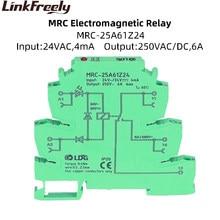MRC-25A61Z24 1Z 24VAC Coil Plc Elektromagnetische Contact Interface Relais Module 6A 250VAC/Dc Belasting Led Voltage Relais Schakelaar Din