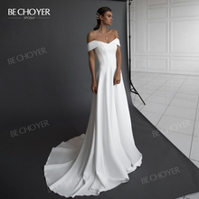 Elegantซาตินงานแต่งงานชุด2020ปิดไหล่A Line Princess Court Trainชุดเจ้าสาวBECHOYER NR149ที่กำหนดเองVestido De Noiva