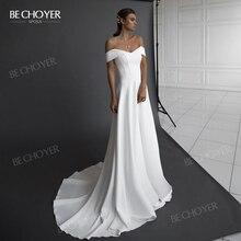 Thanh Lịch Satin Váy Cưới 2020 Vai Chữ A Công Chúa Triều Đình Đoàn Tàu Cô Dâu Bầu BECHOYER NR149 Tùy Chỉnh Đầm Vestido De Noiva