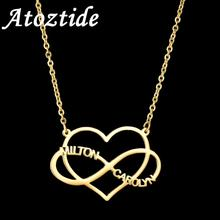 Atoztide Custom Infinity Two Name Necklaces Hollow love  Heart Nameplate Jewelry Stainless Steel Necklaces Women Bijoux Femme