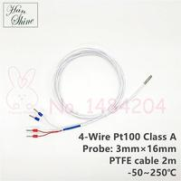 Class A Pt100 RTD -50 to 250 Degree Celsius 3mm * 16mm 4 Wire PTFE Cable 2M High Accuracy Pt 100 temperature probe