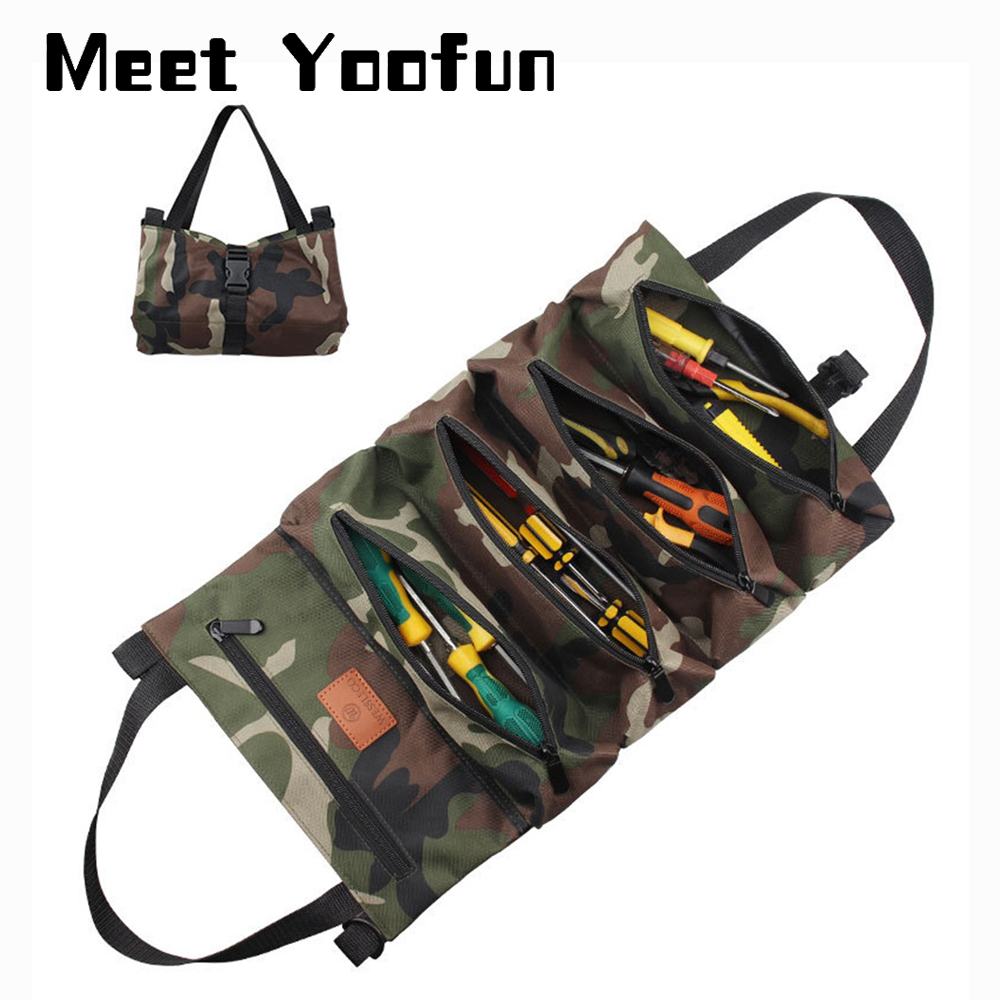 Tool Roll Up Bag Wrench Holder Pouch Tool Tote Bags Hanging Back Seat Organizers Portable Canvas Zipper Carrier for Electricians