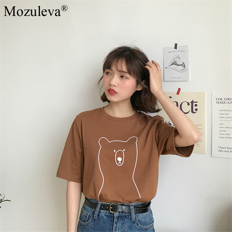 H94fdac42916a473d828cac5cdbf3ed9b9 Mozuleva 2020 Chic Cartoon Bear Cotton Women T-shirt Summer Short Sleeve Female T Shirt Spring White O-neck Tees 100% Cotton