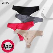 Whpc 3 pçs/set g-string calcinha de cetim sem costura calcinha feminina sexy calcinha feminina calcinha tanga cor sólida pantys lingerie