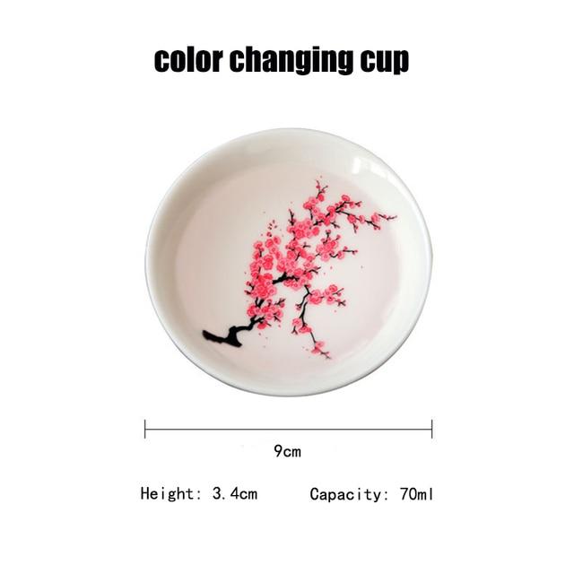 Japanese Magic Sakura Cup Cold Temperature Color Changing Flower display Sake Cup Ceramic Kung fu Tea Cup Tea Bowl 4