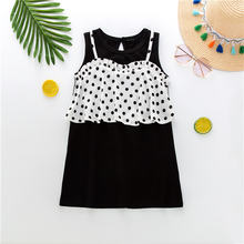 2020 kids clothes girls dresses toddler 2 in 1 polka dot frill
