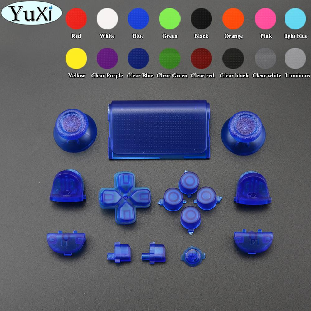 YuXi Full Set Glow In The Dark Buttons Cap Replacement Parts L1 L2 R1 R2 Dpad For Sony PS4 Controller 2.0 Version JDS 001 010