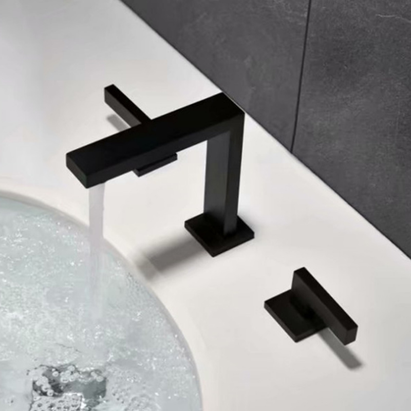 Cold&Hot Water Basin Faucet Deck Mounted Ceramic Plate Spool Dual Handle Basin Sink Faucet Black Basin Mixer Tap for Bathroom