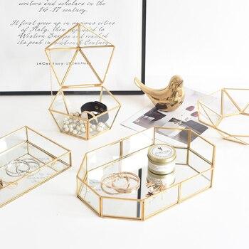 Bandejas de almacenamiento de vidrio dorado, organizador de maquillaje nórdico, bandeja para servir artículos diversos, plato de postre, bandeja decorativa de Metal, decoración hogareña Cocina