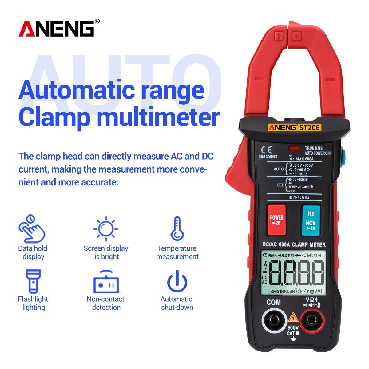 ST206 Clamp Meter  Digital Multimeter 6000 counts True RMS Amp DC/AC Current Clamp tester Power Meters voltmeter Test|Multimeters| |  - title=