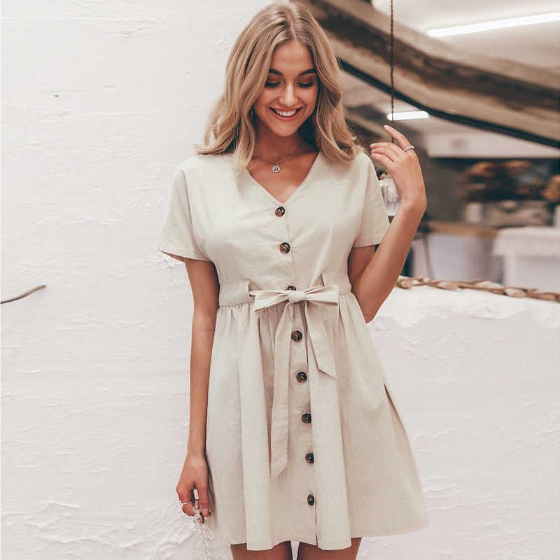 Buttons أزرار النساء فستان قميص الخامس الرقبة قصيرة الأكمام القطن الكتان قصيرة الصيف مكتب فساتين عادية الكورية vestidos
