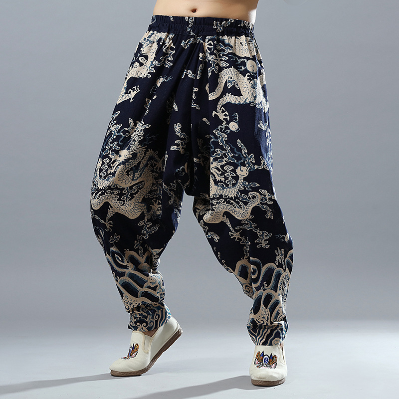 Cool Dragon Design Printed Men's Cotton Linen Bloomers 2019 Spring New Style Ethnic-Style Casual Pants Men's