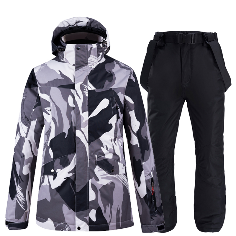Thick Warm Black Camouflage Ski Suit Male Snow Costumes Outdoor Wear Waterproof Windproof Skiing Snowboarding Jacket Pants Set