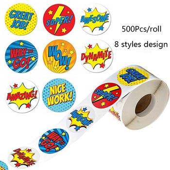 Super Hero Reward Stickers 500 Stickers per roll 8 Super Hero Designs scrapbooking Paper Seal Students Kids stationery sticker dc super hero girls harley quinn's spooky sticker activity book
