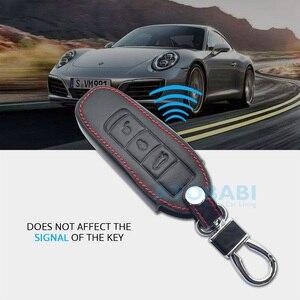 Image 4 - Capa de couro para chave de carro porsche cayenne 911 996 panamera macan boxster 986 987 981 3 botões controle remoto inteligente capa protetora