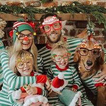 9 шт рождественские очки Санта Клаус Снеговик Снежинка Дерево лося Бумажные очки реквизит для фото вечеринок 2020 Рождественское украшение д...