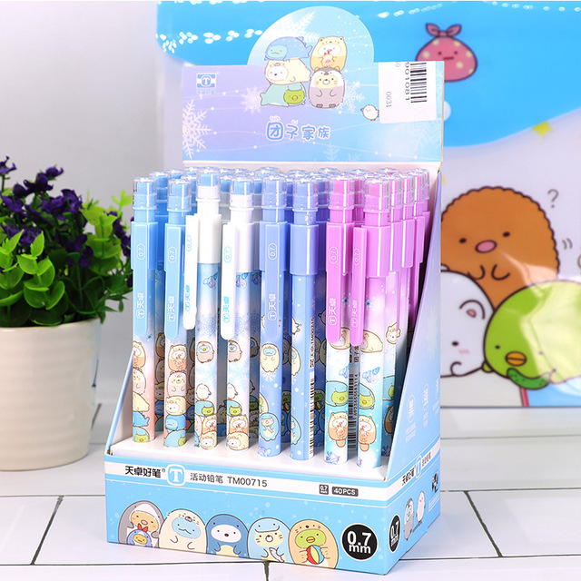 40 adet/grup Sumikko Gurashi mekanik kurşun kalem sevimli 0.5mm otomatik kalem kırtasiye hediye okul ofis malzemeleri