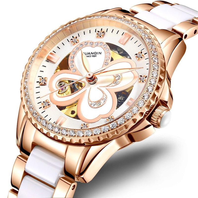 Роскошные женские часы GUANQIN GJ16111 со стразами, женские часы со светящимися стрелками, водонепроницаемые наручные часы для женщин 316l, инструме...