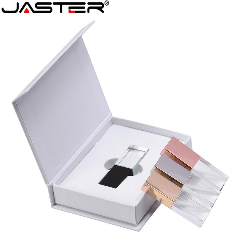 JASTER nouveau LOGO personnalisé cristal Usb 2.0 clé Usb avec boîte-cadeau 2GB 4GB 8GB 16GB 32GB 64GB