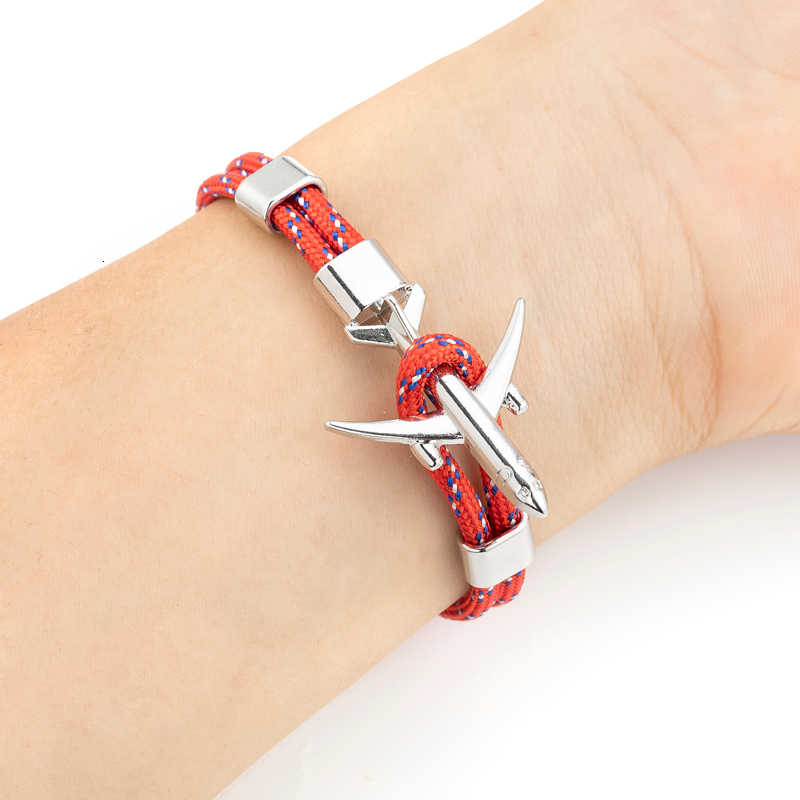 Samolot kotwica bransoletki dla kobiet mężczyzn przetrwania Rope Chain Paracord Charm bransoletka Metal samolot haki opaska na ramię homme biżuteria