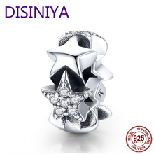WOSTU Brand NEW 925 Sterling Silver Stars Spacer Charm Bead For Original DIY Bracelet Bangle Silver Jewelry Making Gift CQC929 wostu 2018 fashion 925 sterling silver convallaria pendant necklace for girl women silver jewelry original brand gift cqn229