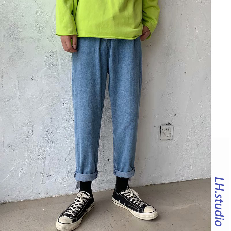 Men Straight-Cut Jeans Korean-style Loose-Fit Teenager Casual Pants Spring And Autumn INS Trend Hong Kong Style 9 Capri Pants