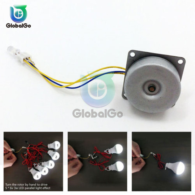 Micro Three Phase AC Wind Generator Turbines Brushless Motor Hand Cranked Generator 3-24V 0.1A-1A 0.5-12W RPM3000-6000 LED 6