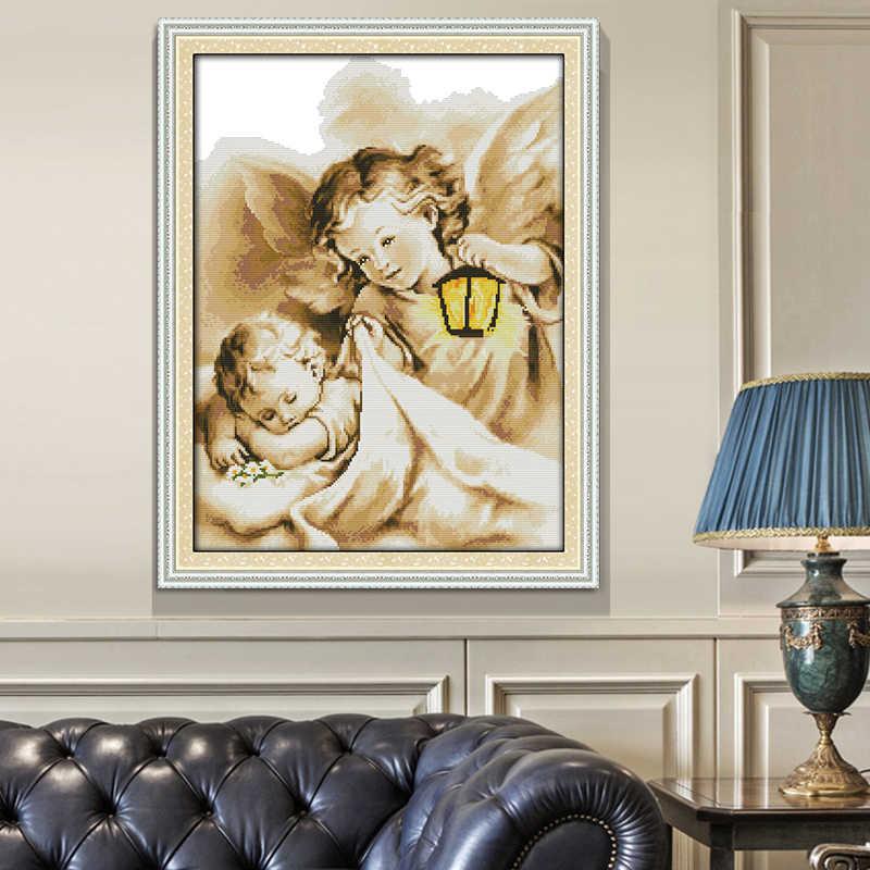 Joy Sunday المطبوعة عبر الابره عدة الملاك عقد مصباح حلم الملاك DMC 14CT 11CT اليدوية طقم تطريز اللوحة الزخرفية