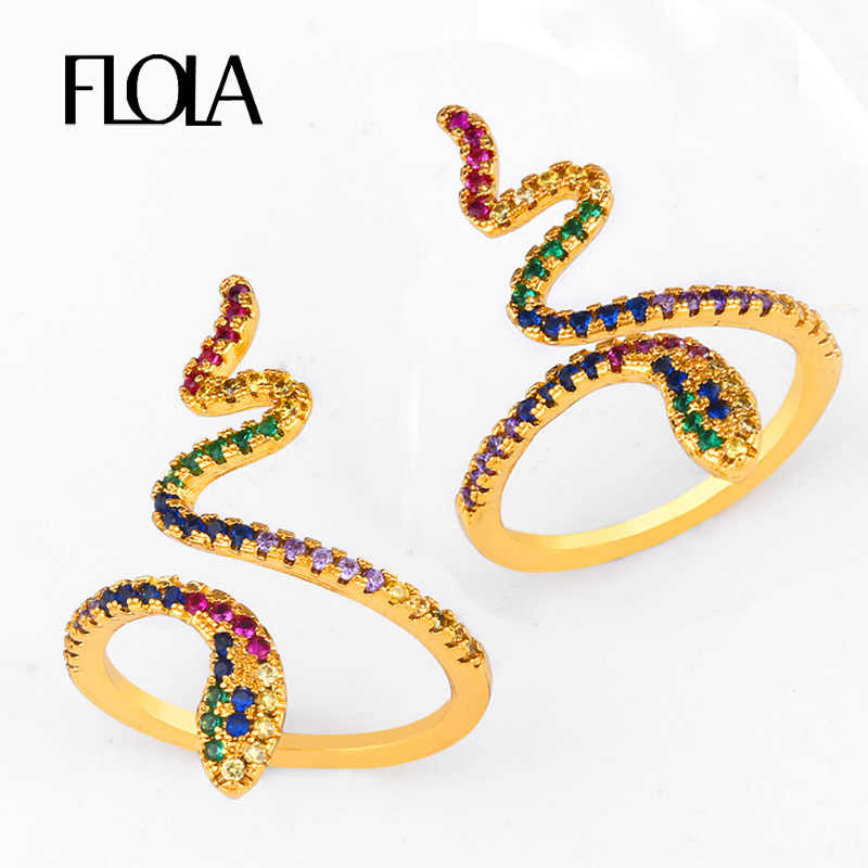 FLOLA ouvert arc-en-ciel serpent bague or pavé arc-en-ciel anillo AAA cubique Zircon bague femme 24k or bijoux anillo de serpiente right 89