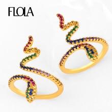 FLOLA Open Rainbow Snake Ring Gold Pave anillo AAA Cubic Zircon Woman 24k Jewelry de serpiente righ89
