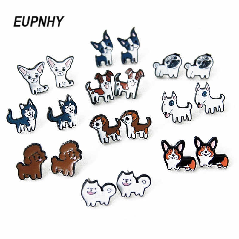 EUPNHY 2Pcs/Set Lovely Beagle Hound Bull Terrier Dog Stud Earring for Women Girls Fashion Cartoon Animal Earrings Jewelry