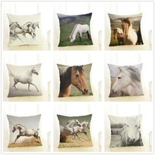 Fashion Cushion Cover 45x45 cm Pillowcase Soft Cotton Linen Blend Nordic Pillow Cover 3D Horse Sofa Cushion Cover for Home Decor цены