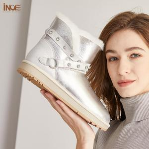 Image 4 - INOE Waterproof Sheepksin Leather Shearling Wool Fur Lined Short Winter Boots Women Ankle Snow Boots Silver Crystal Strap Shoes