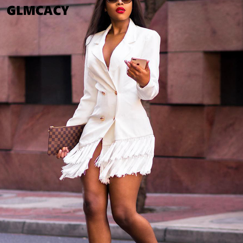 Women Double Breasted Tassel Design Long Sleeve Blazer Dress Chic Solid Notched Lapel Collar Office Lady Elegant Dress