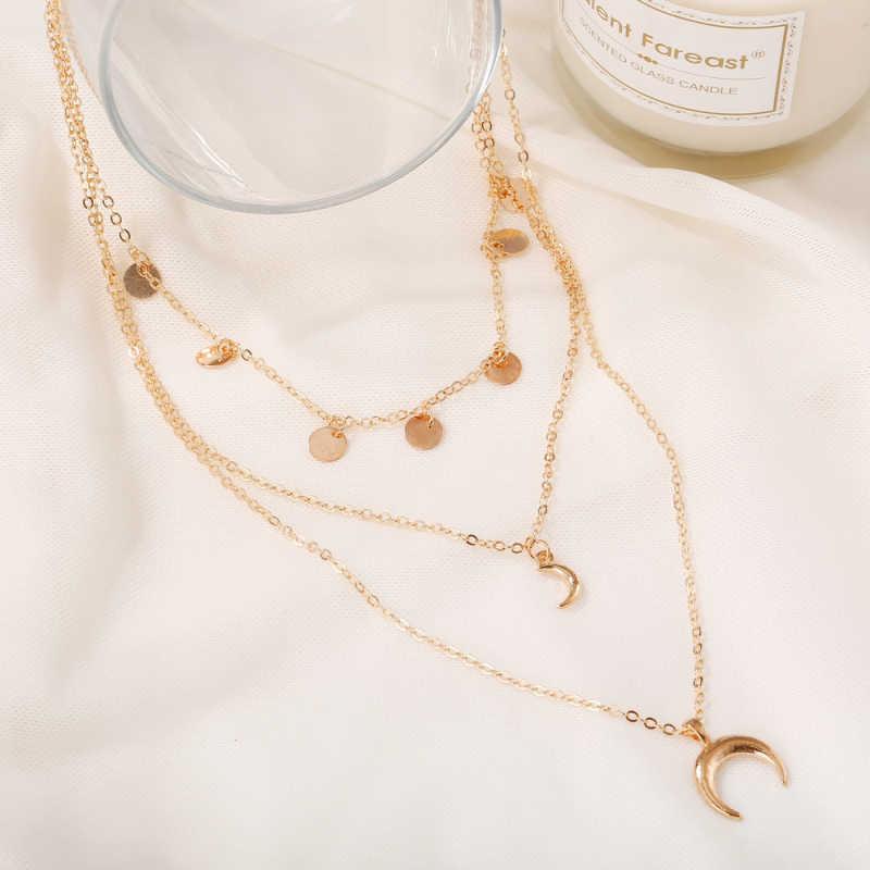 Эффектное ожерелье в стиле бохо, многослойное золотое ожерелье, s Moon, подвеска со стразами, Очаровательное ожерелье s для женщин, модное колье из сплава, ювелирное изделие