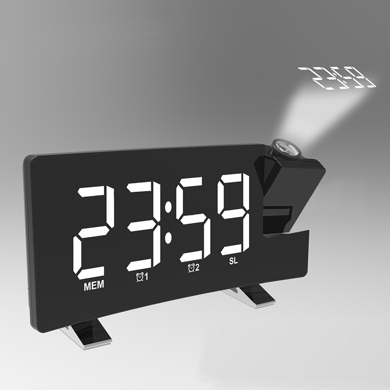 Projection Alarm Clock Digital Ceiling Display 180 Degree Projector Dimmer Radio Battery Backup For Home Office Bedroom