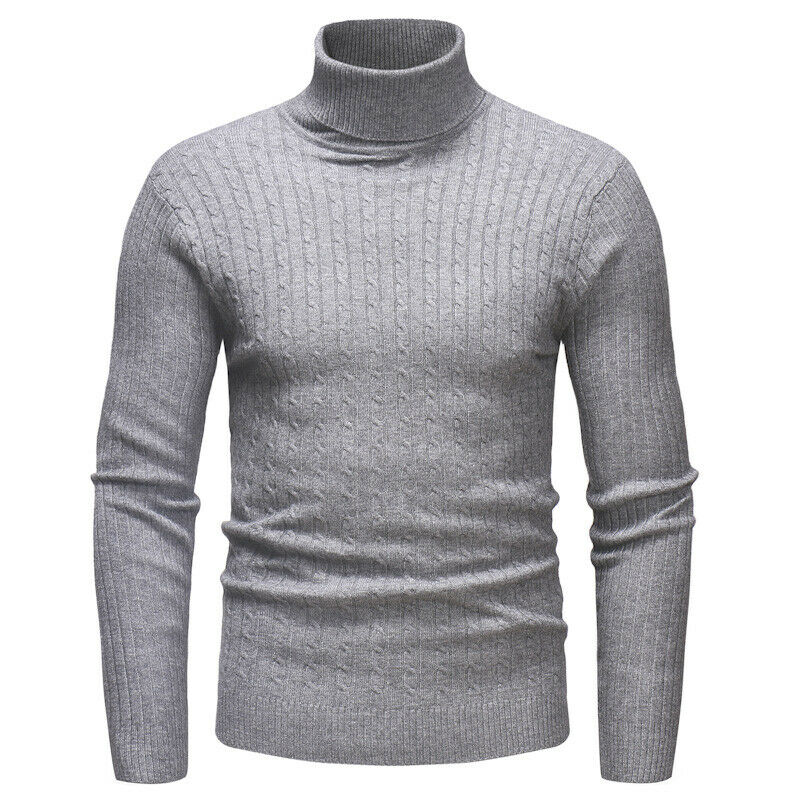 Autumn Winter New Fashion Men Long Sleeve Pullover High Neck Turtleneck Stretch Slim Basic T Shirt Tee Top Sweaters