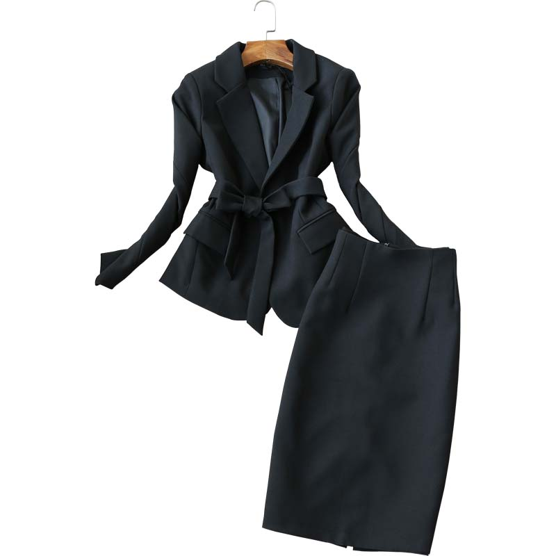 Office Women's Skirt Set Two-piece High Quality 2019 Autumn And Winter Fashion Black Ladies Small Suit Jacket Casual Slim Skirt
