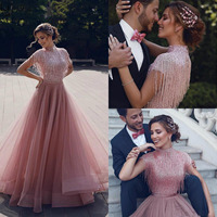2020 Elegant Rose Pink Arabic Prom Dresses A Line High Neck Sequins Beaded Tassels Tulle Muslim Homecoming Dress Evening Gowns