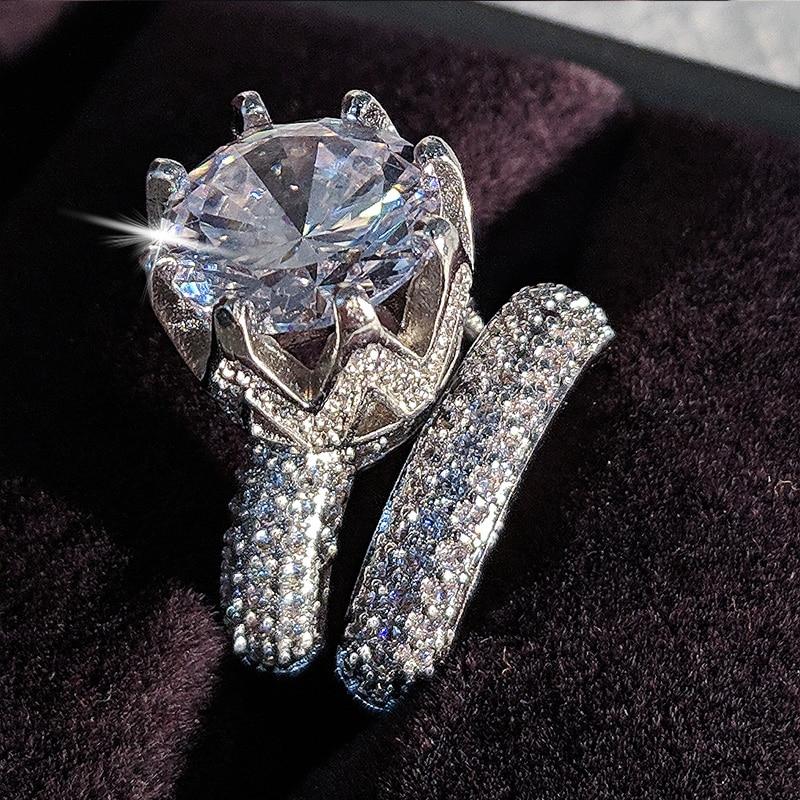 Luxury Original 925 Sterling Silver Wedding Ring Set