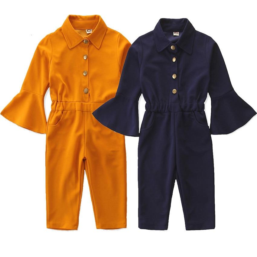 Eleghant/Детский комбинезон для маленьких девочек; Комбинезон с расклешенными рукавами; Однотонные однобортные комбинезоны с отворотами; Весе...