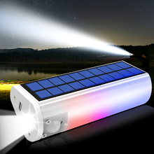 มัลติฟังก์ชั่พลังงานแสงอาทิตย์ Light 650lm แบบพกพาไฟฉายพลังงานแสงอาทิตย์ไฟฉายชาร์จโทรศัพท์กลางแจ้งในร่มกันน้ำสำหรับตั้งแคมป์